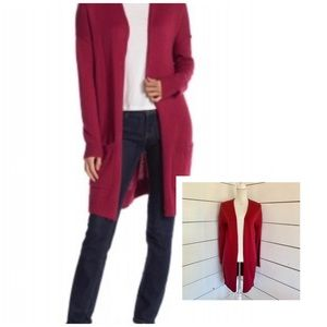 ABOUND Red Knit Open Long Cardigan Size XS